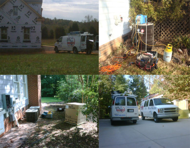 Photo of working on HVAC systems in Mooresville, Cornelius, Huntersville and Davidson, NC, Replacing heat pump, furnace and air conditioner system